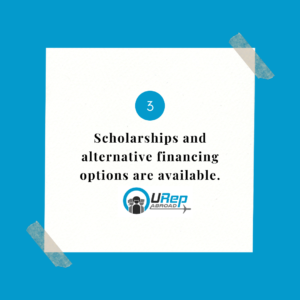 3. Scholarships and alternative financing options are available.